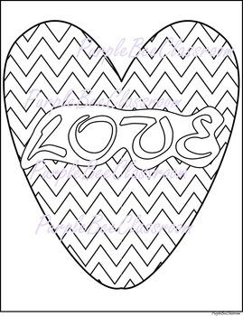 "Valentine's Day Coloring Page #2-Chevron Heart ""LOVE"""