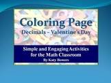 Coloring Page - Valentine's Day Decimals