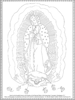 Coloring Page of Our Lady of Guadalupe