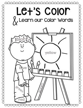 Coloring Pages with Color Words