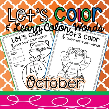 Coloring Pages with Color Words October