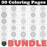 Coloring Pages BUNDLE 30 different Mandalas Coloring Worksheets