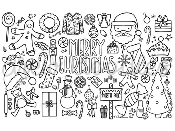 Coloring Pages COMBO- Gingerbread, Merry Christmas, Let it Snow, and Santa!