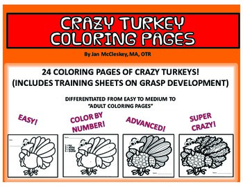 Coloring Pages:  Crazy Turkeys!