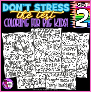 Growth Mindset Coloring Pages / Posters / Sheets: Don't Stress The Test 2!