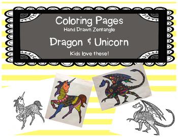 Coloring Pages-Dragon & Unicorn Zentengle