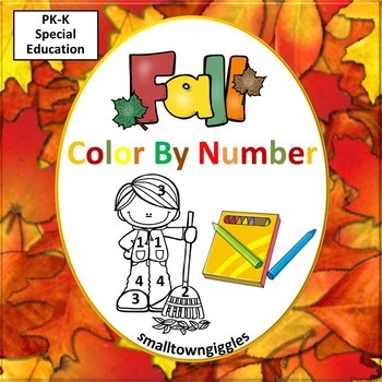 Color by Number Fall,  Color By Number, Code Kindergarten, Special Education