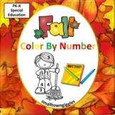 Fall, Color by Number Math Center Kindergarten Special Edu