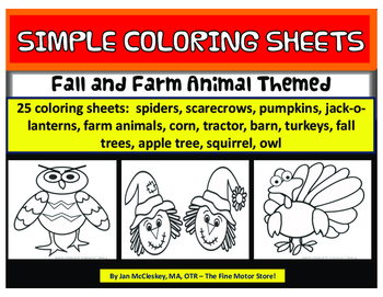 Coloring Pages:  Fall and Farm Animal Simple Coloring Sheets