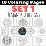 Coloring Pages 10 Mandala Designs Set 1 Perfect for testin