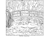 Coloring Pages - Mona Lisa, Japanese Bridge, Sleeping Gypsy, and Three Musicians