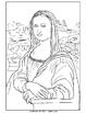Coloring Pages - Mona Lisa, Japanese Bridge, Sleeping Gypsy, and Three Musicians