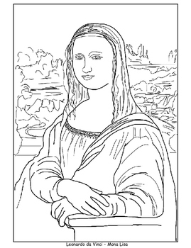 Coloring Pages - Mona Lisa, Japanese Bridge, Sleeping Gypsy, and ...