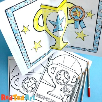 Coloring Pages - POP UP Trophy Card for Father's Day, BLANK & Congratulations