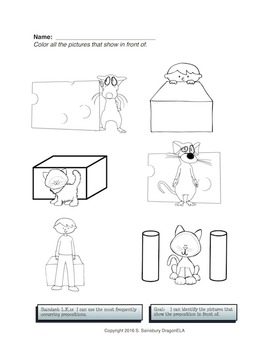 Coloring Pages Prepositions