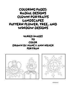Coloring Pages: Radial designs, Clown Portraits, Pattern and Landscapes