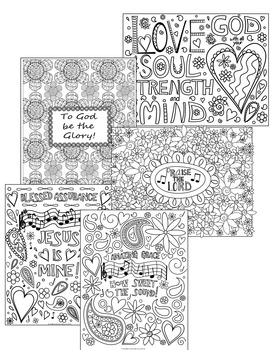 Coloring Pages Set of 5 Bible/Inspirational Coloring Pages