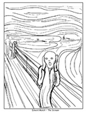 Coloring Pages - The Scream, American Gothic, Beasts of the Sea, and Poppy
