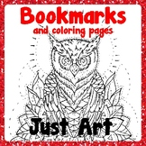 Bookmarks and Coloring Pages - Owls - Just Art
