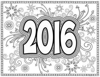 Coloring Pages for Adults, Teens: New Year 2016