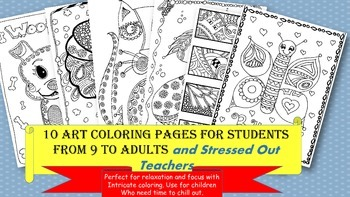 Coloring Pages for Children to Adults- Stress Relief/Art/Down Time