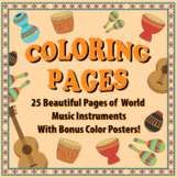 Coloring Pages of World Music Instruments - Bundle
