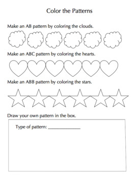 Repeating Patterns Worksheet / Color and Draw (FREEBIE - first grade math)
