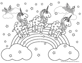 Coloring Pink Fluffy Unicorns Dancing on Rainbows by ...