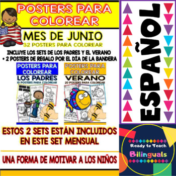 Coloring Posters in Spanish - June Set (2 Free Posters in the Preview)