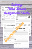 Spring Themed Coloring Printable Piano Assignment Sheet