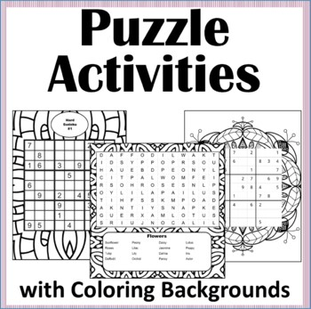 Coloring Puzzle Activity Book -Coloring Therapy, Sudoku, Word Search, 50 puzzles