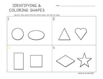 Pre-K Coloring Shapes Worksheet