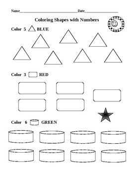 Coloring Shapes with Numbers PLUS Colors and Numbers Word