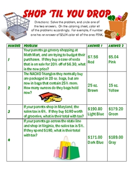 Coloring Sheet Bundle/Various Algebra and Middle School Topics