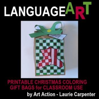 "Christmas Coloring Sheet ""Easy-art"" Gift Bags"
