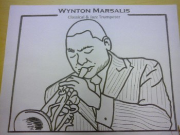Music Coloring Page - Wynton Marsalis