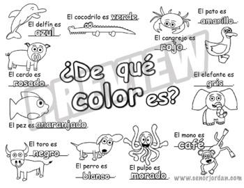 Coloring Sheet For Song De Que Color Es Freebie By Sr Jordan