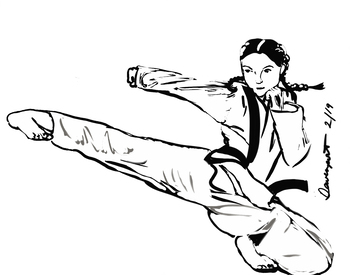 Coloring Sheet Of A Karate Girl By Mrs Davenport Tpt