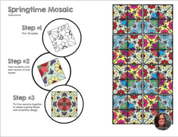 Springtime Butterfly Mosaic- Interactive Coloring Sheets - Spring Art Lesson