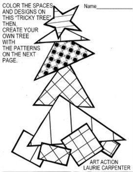 "Coloring Sheets for Christmas ""Free Tricky Triangle Tree"""