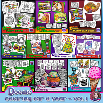 Doodle Coloring Sheets for a Year