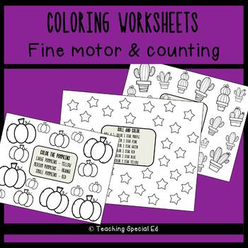 Coloring Worksheets for fine motor and counting