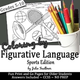 Sports Figurative Language Activity, No Prep Coloring for Teens