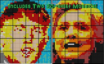 Coloring by Fractions - Donald Trump vs Hillary Clinton (Two 20-Sheet Mosaics)