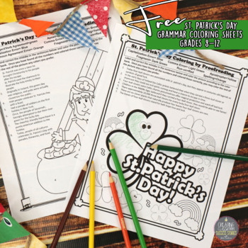 St. Patrick's Day Activities, Grammar Proofreading Coloring for Teens