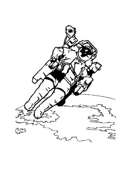 Coloring for preschoolers Astronauts and Spaceship