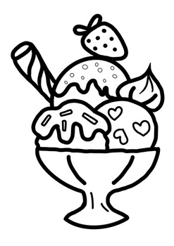 Coloring image Summer ice cream printable page by Mali learning store