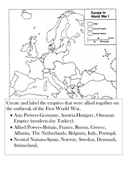 Coloring in map of WW1 European Alliances
