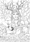 Coloring page - Girl, Hedgehog and Guitar