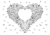 Coloring page pdf, printable heart hand made illustration,